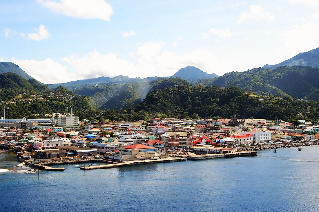 Roseau is located on the southwestern coast of the country at the mouth of River Roseau facing the Caribbean Sea.