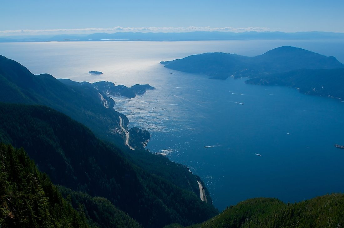 Howe Sound, in British Columbia, Canada, is characterized by the high mountains around its border.