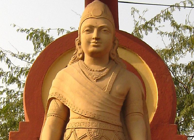 Statue of Chandragupta Maurya, founder of the Maurya Empire, in New Delhi, India.