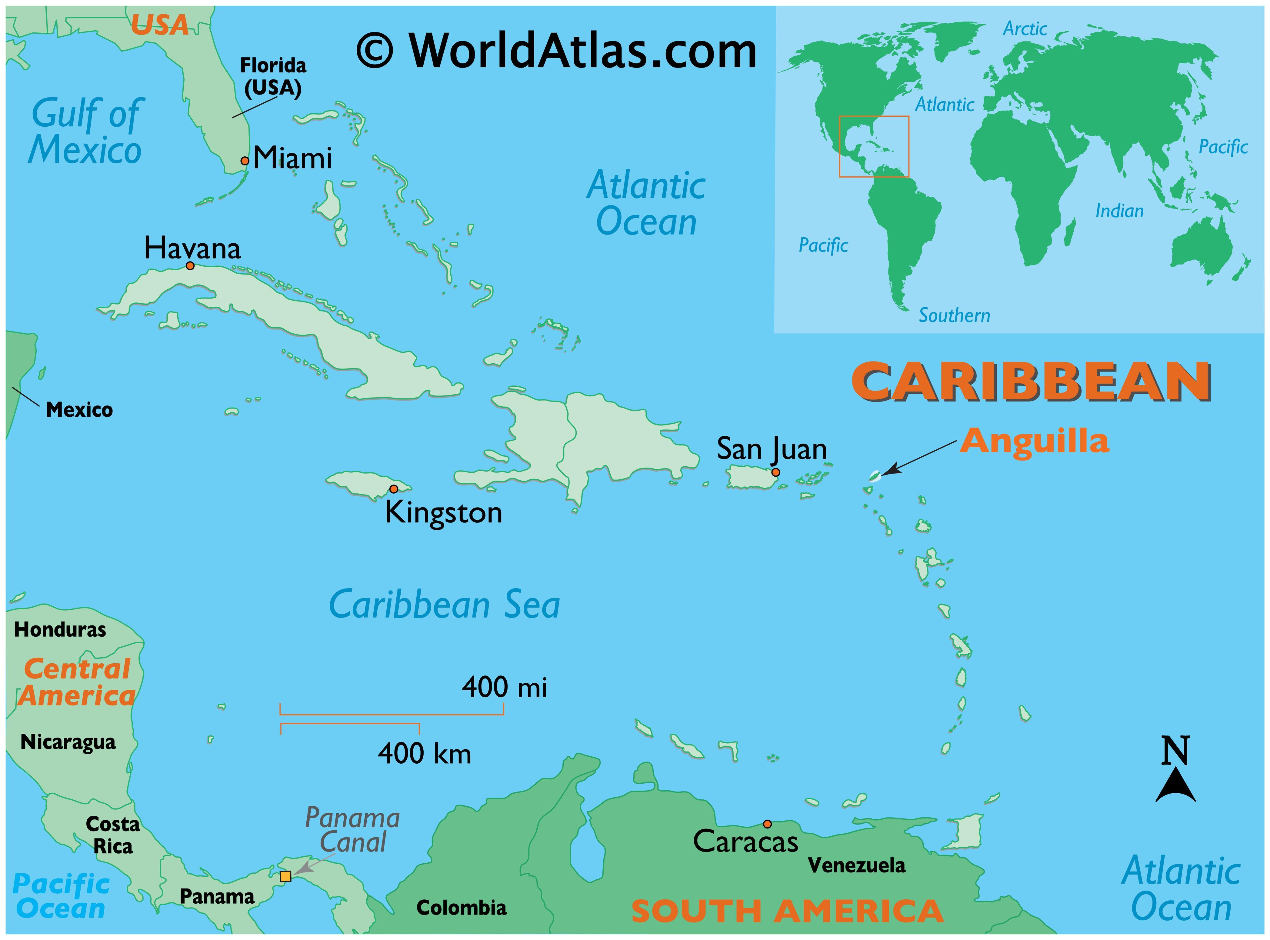 Map showing location of Anguilla in the world.