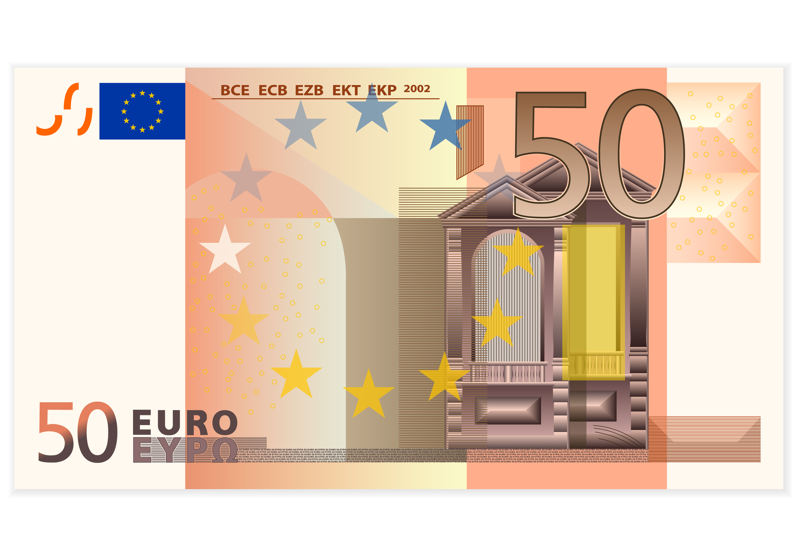 A line of euro banknotes.