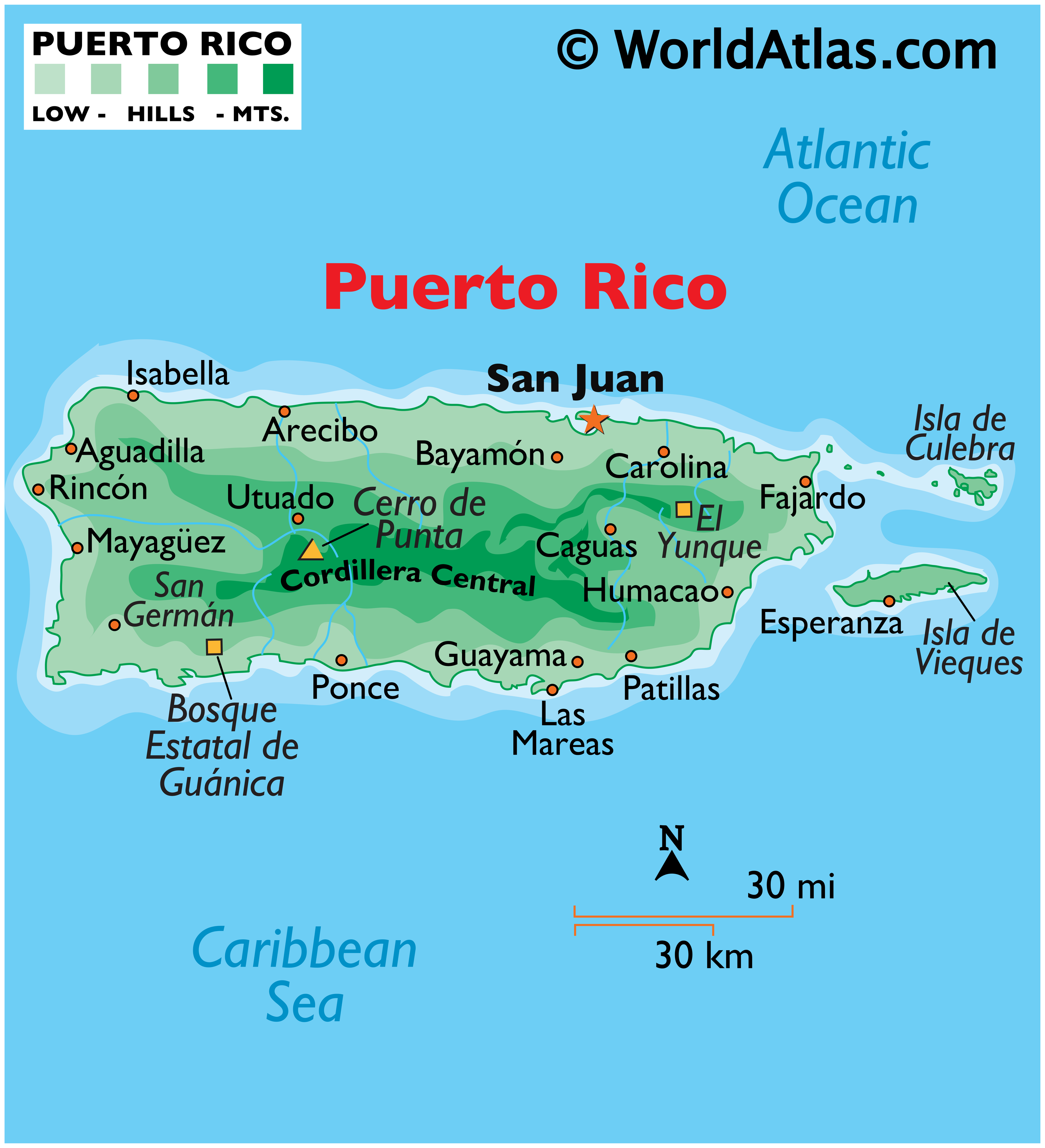 Physical Map of Puerto Rico showing relief, islands, mountain ranges, important settlements, etc.