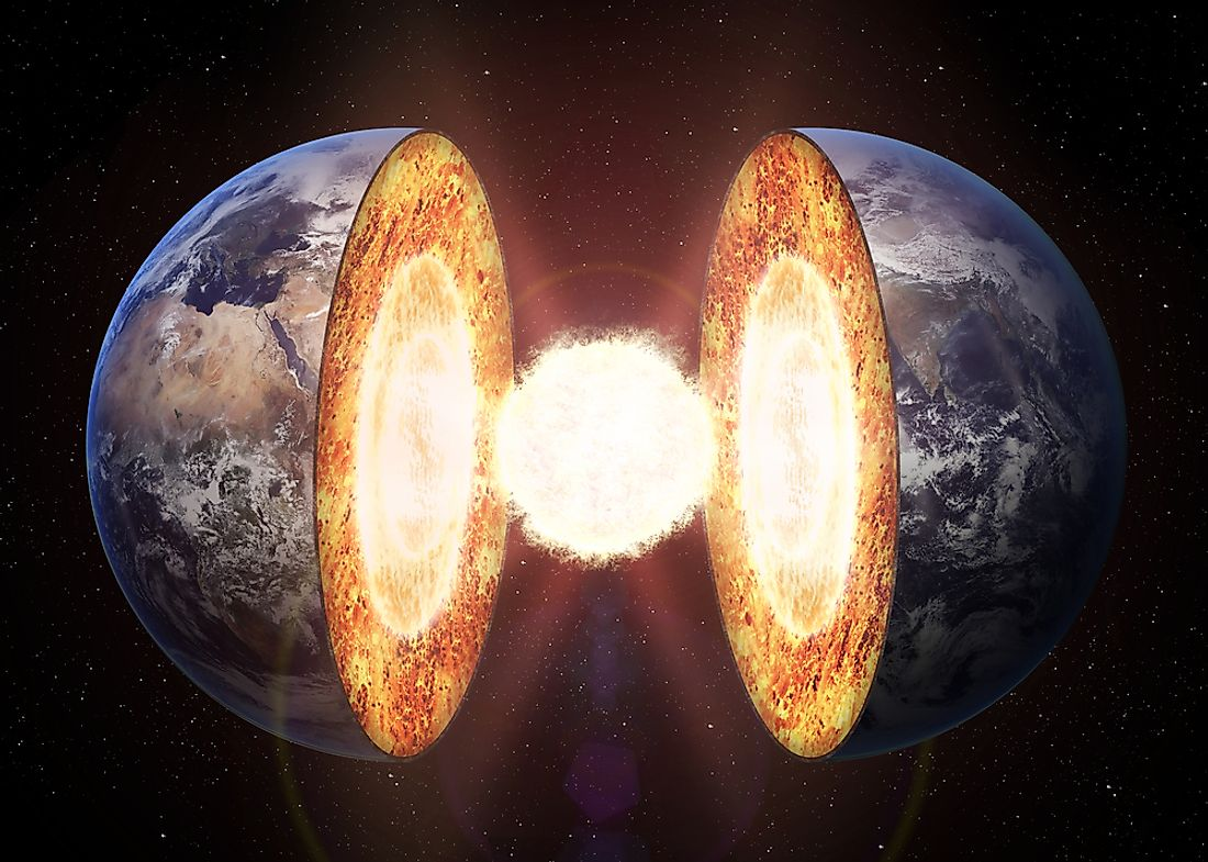 At the center of the Earth is its extremely hot core.