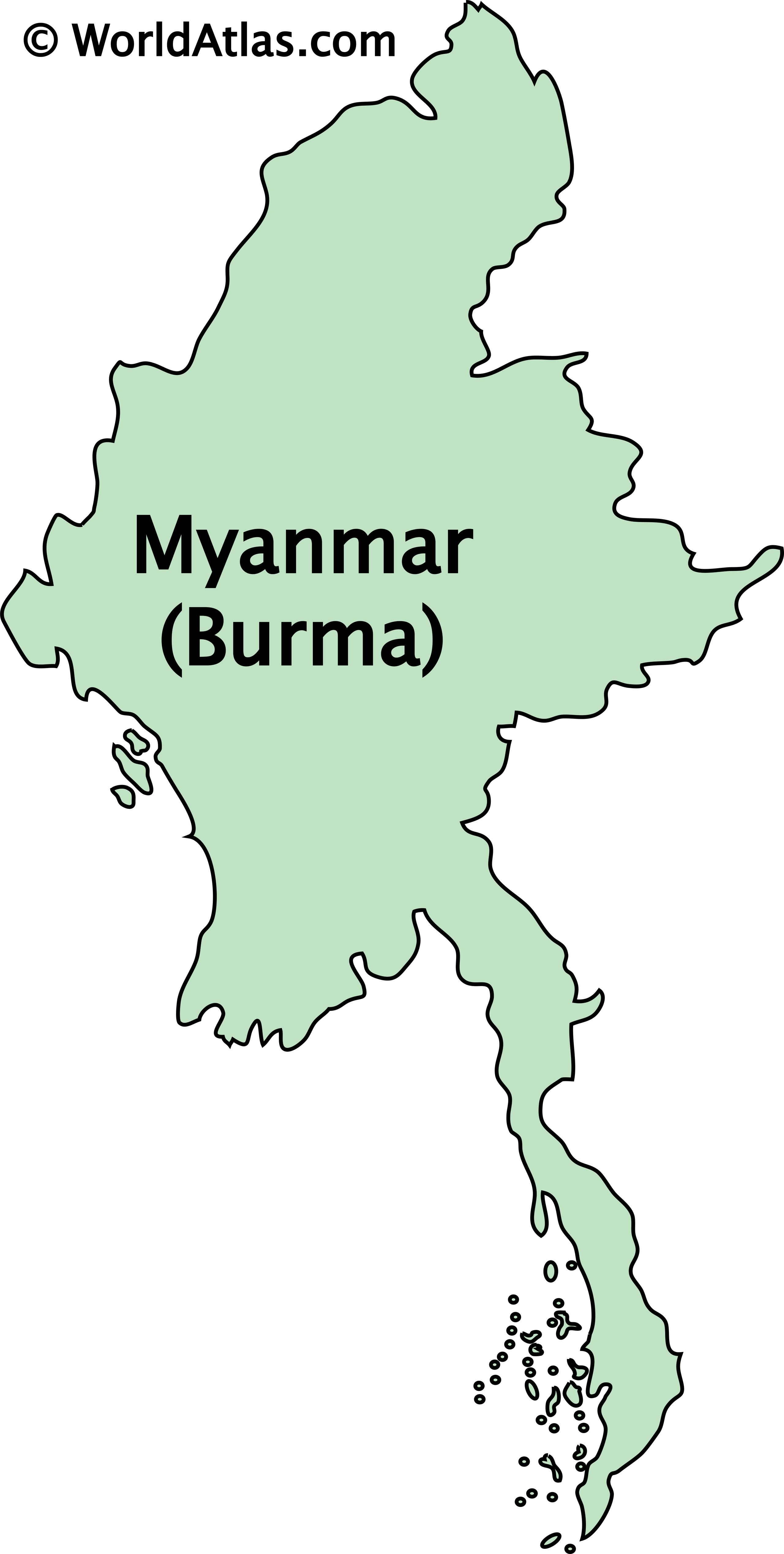 Outline Map of Burma/Myanmar