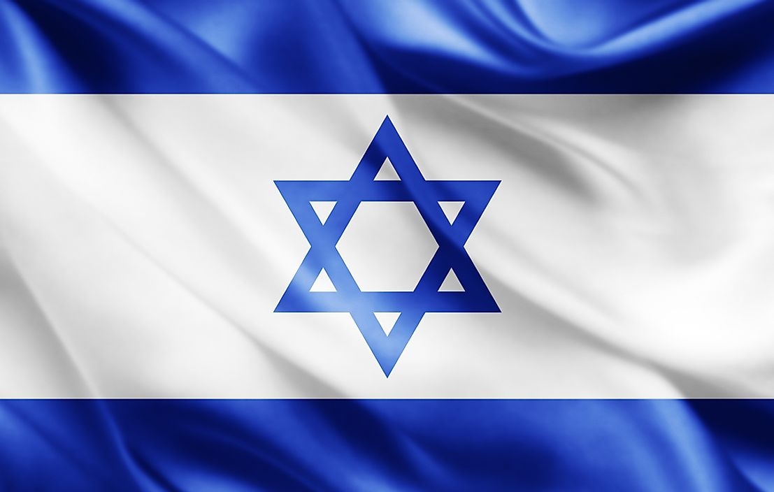 The flag of Israel.