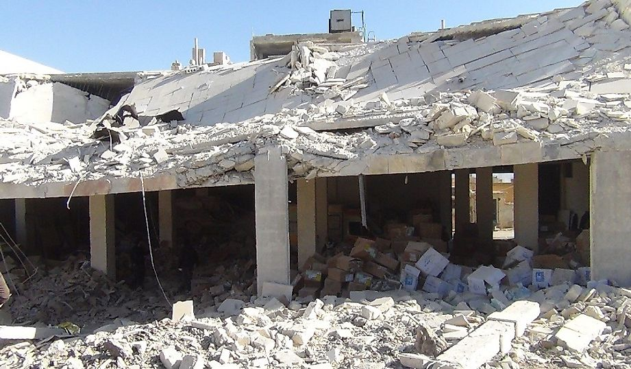 A Syrian warehouse laid waste by an aerial bomb strike.