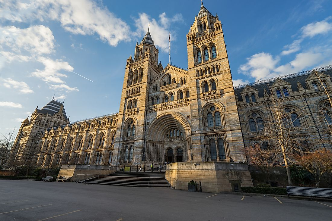 The facade of the Natural History Museum in London.