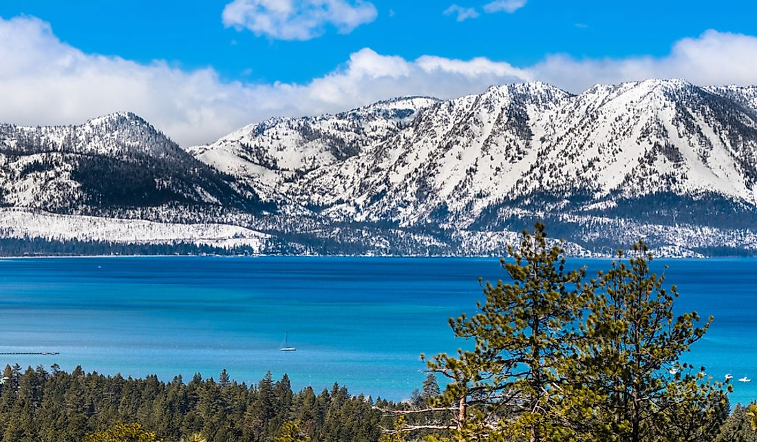 Lake Tahoe and the Sierra Nevada mountains on the border of California and Nevada.