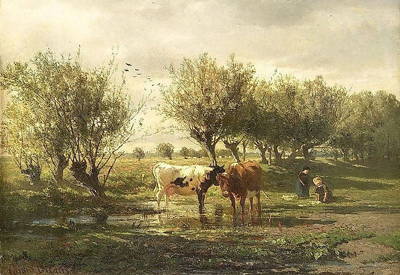 """Cows at a Pond"" became one of the most famous works of prominent Hague School artist Gerard Bilders."