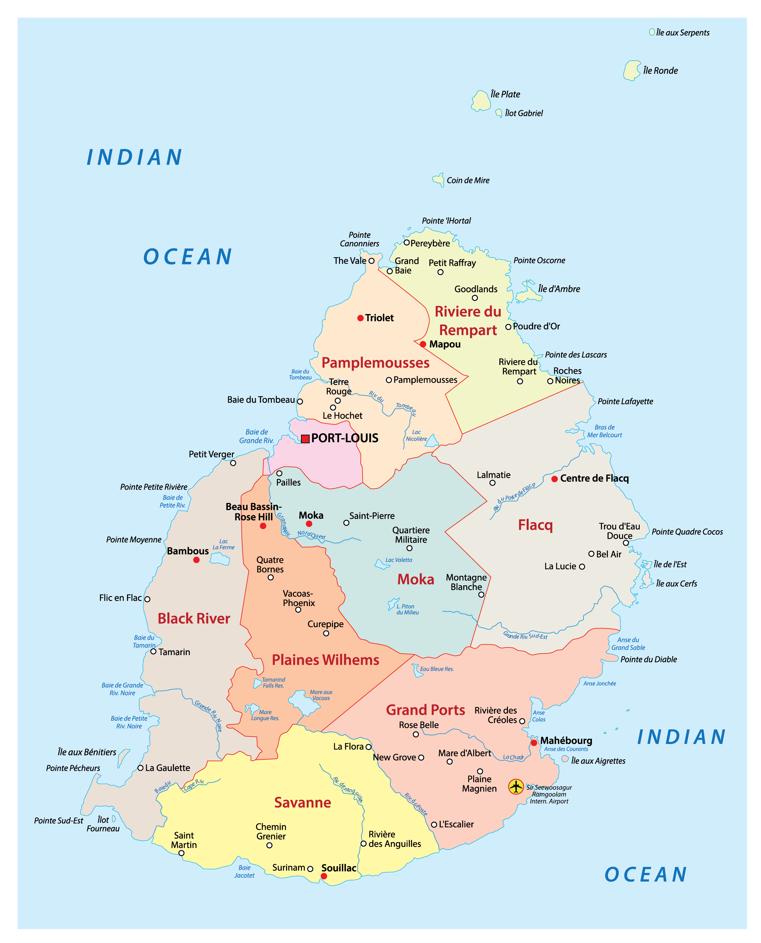 The Political Map of Mauritius showing the nine districts of the country, their capitals, and the national capital of Port Louis.