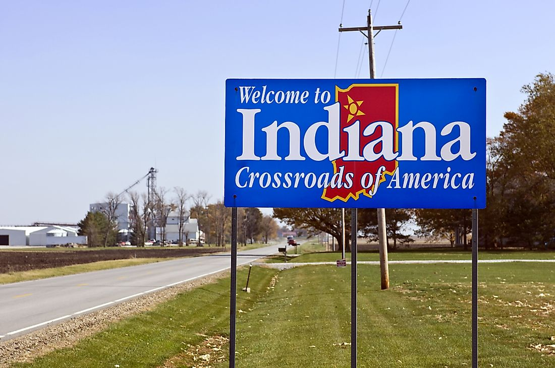 """Welcome to Indiana"" sign."