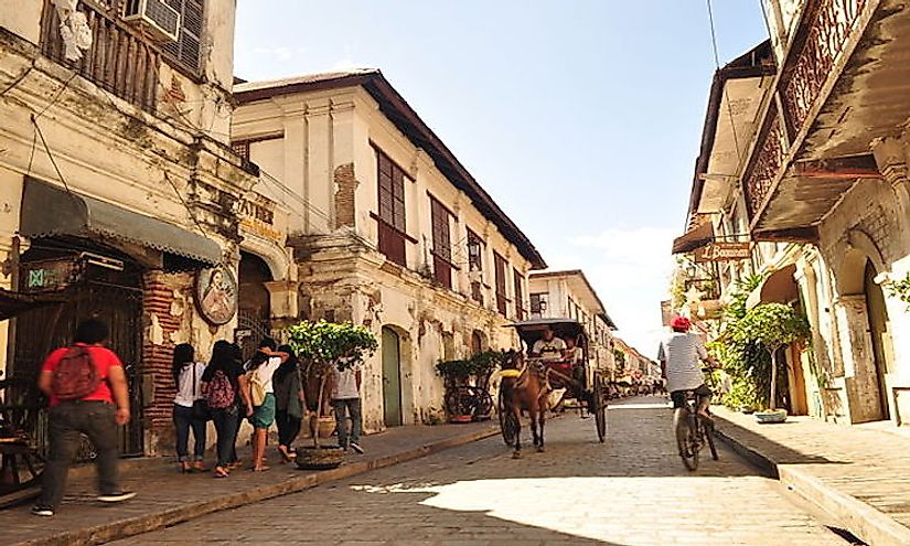 A street scene in the historic city of Vigan in Philippines, a UNESCO World Heritage Site.