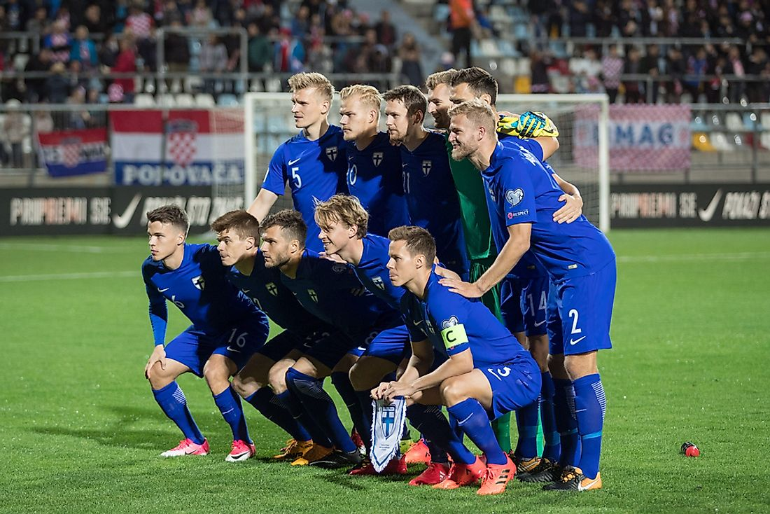 The Finnish national team at the 2018 FIFA European qualifier. Editorial credit: Ivica Drusany / Shutterstock.com.