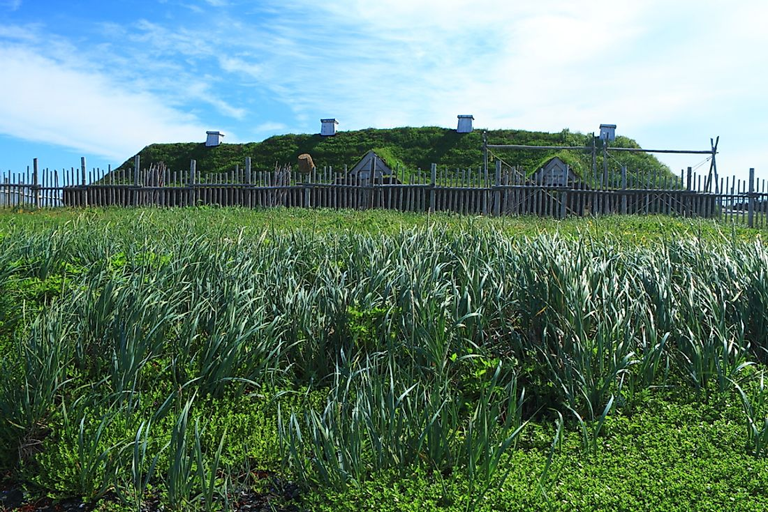 Ancient homes of viking settlers in L'Anse aux Meadows, Newfoundland, Canada.