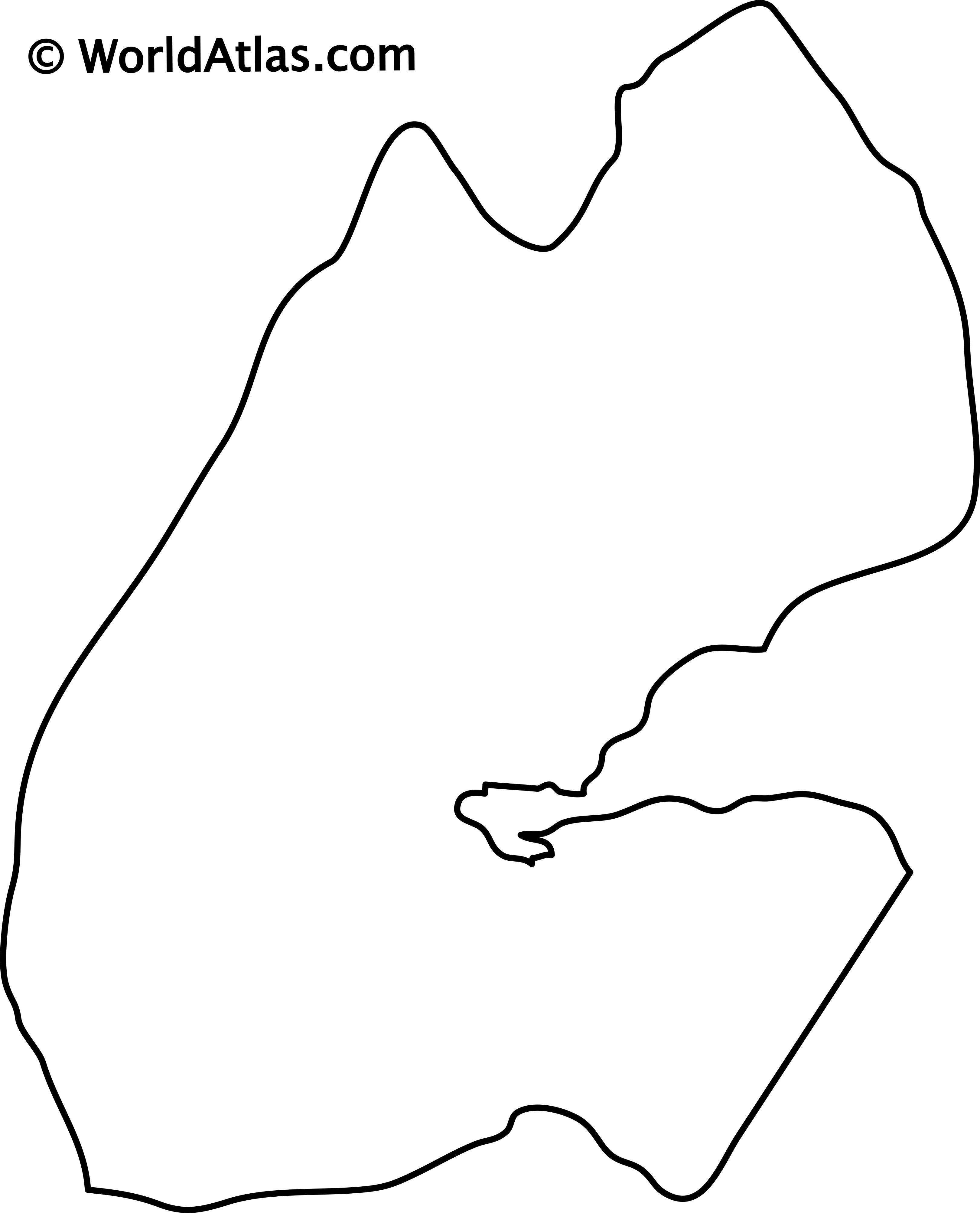 Blank Outline Map of Djibouti