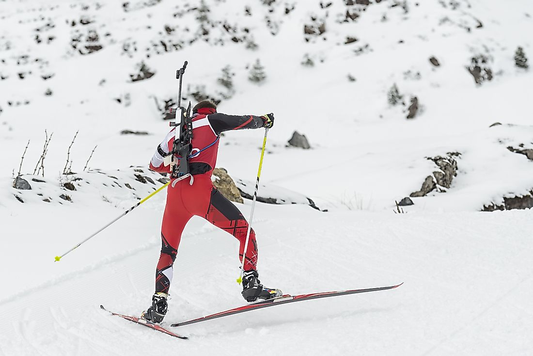 An athlete participating in a Biathlon event.