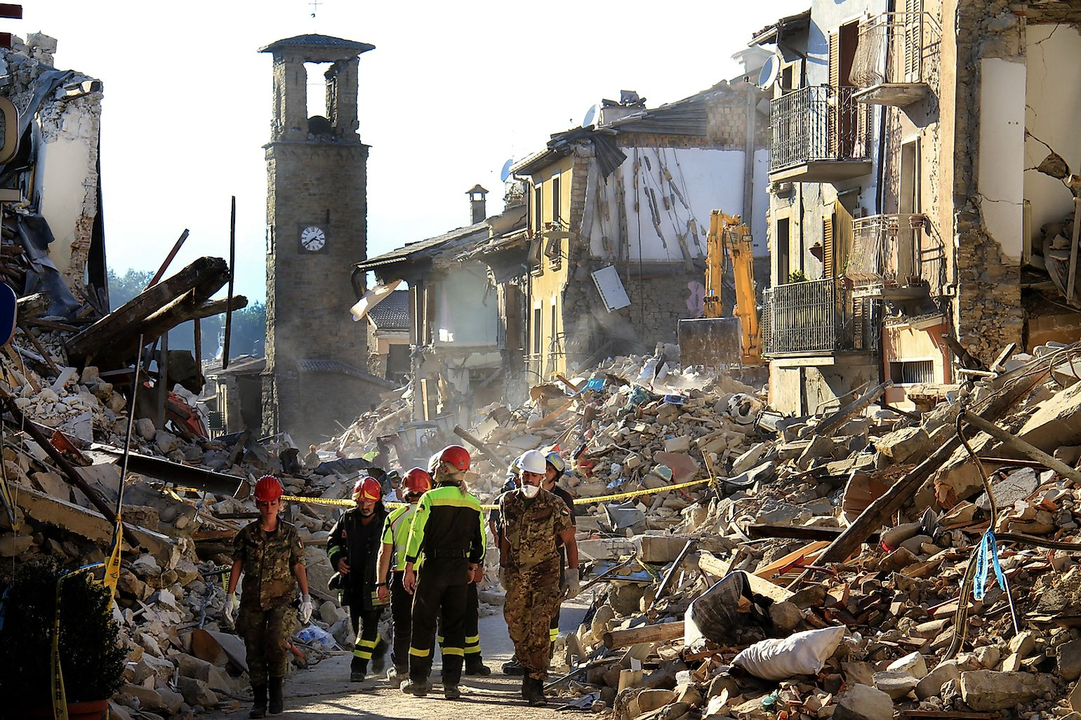 : Houses destroyed by the earthquake of August 24, 2016, in Amatrice, Italy. Image credit:  Jose Carlos Alexandre/Shutterstock.com