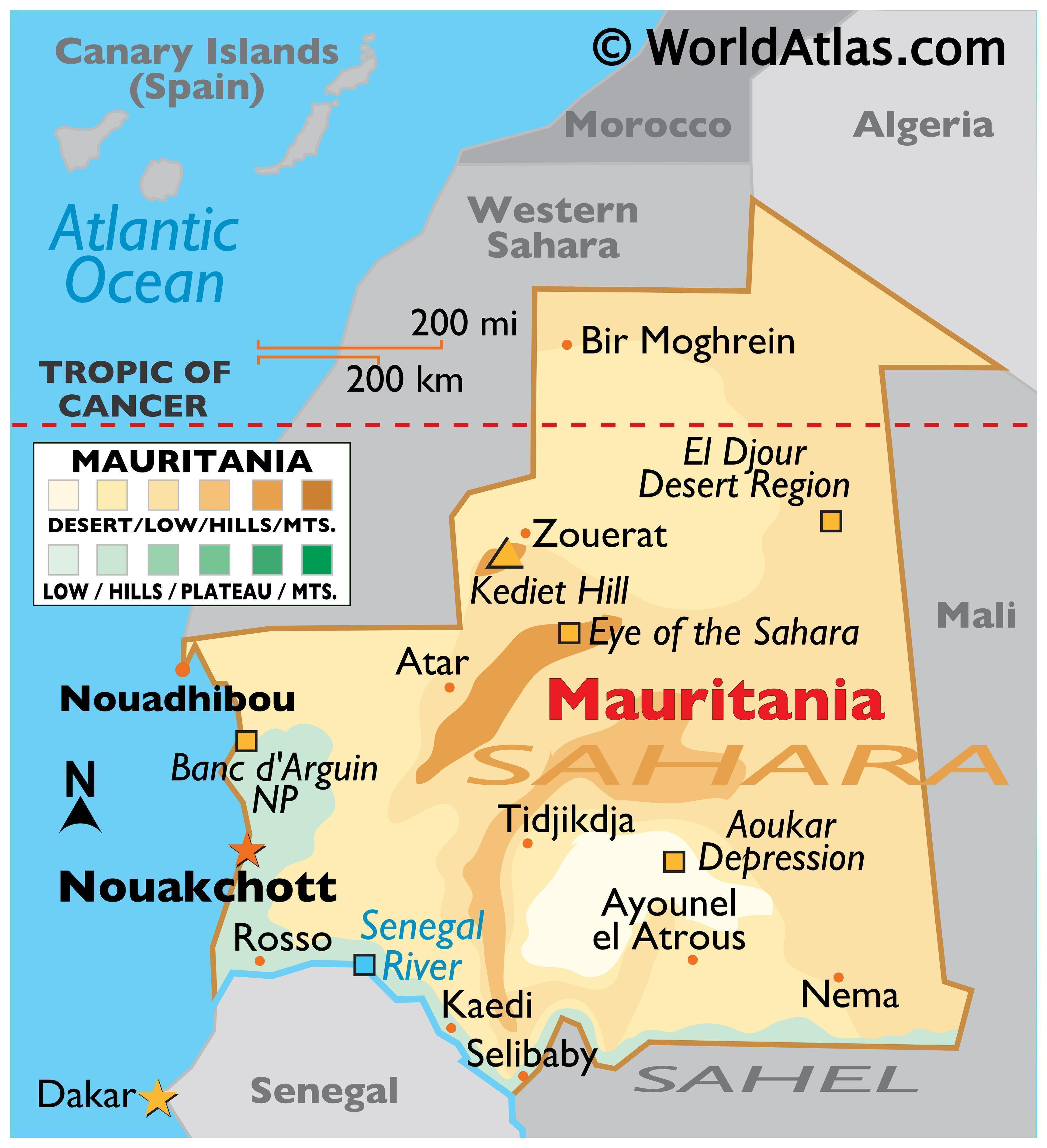 Physical Map of Mauritania with state boundaries, relief, desert features, highest peak, and more.
