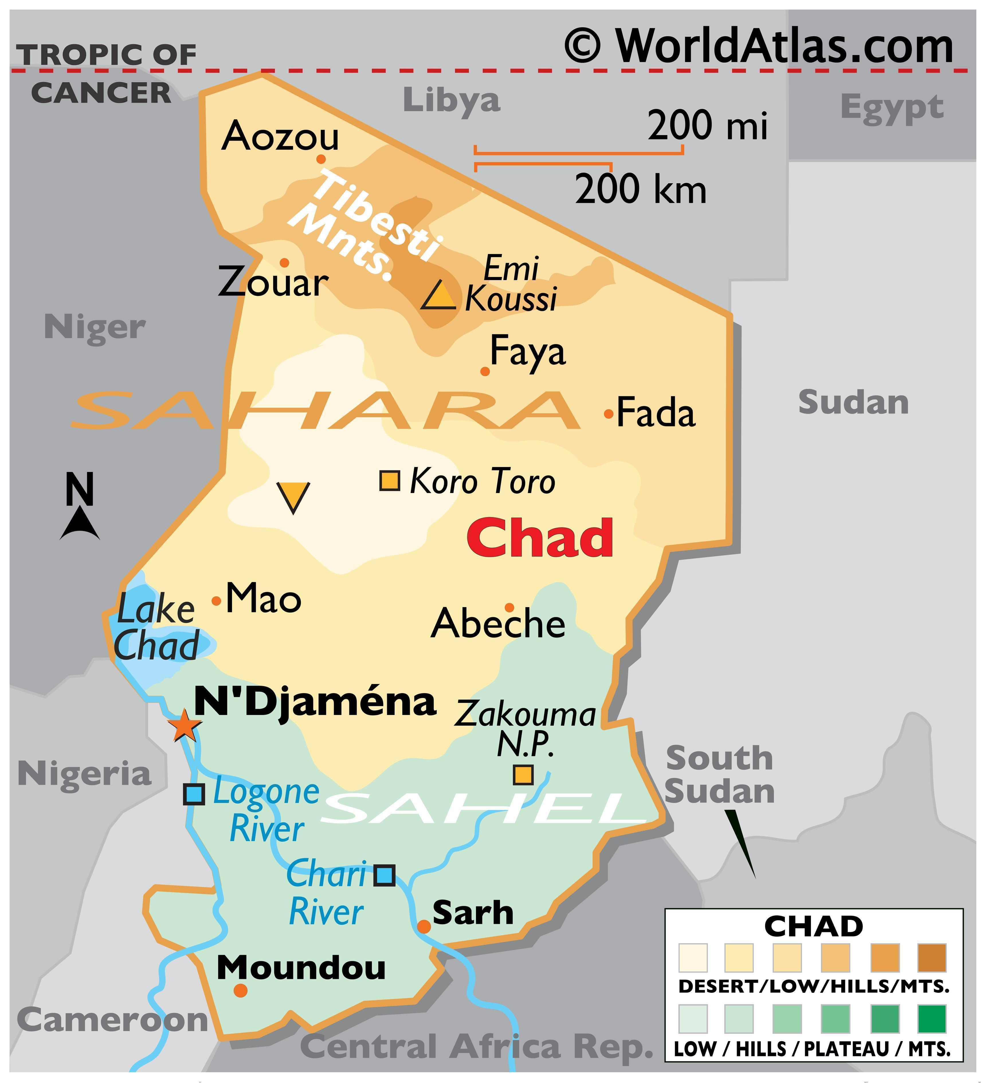 Physical Map of Chad with state boundaries, relief, major rivers, Lake Chad, mountain ranges, and important cities.