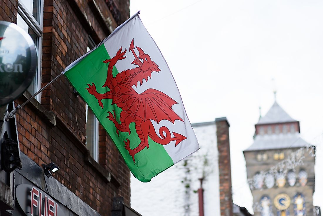 The flag of Wales is notable for featuring a dragon in its design. Editorial credit: steved_np3 / Shutterstock.com.
