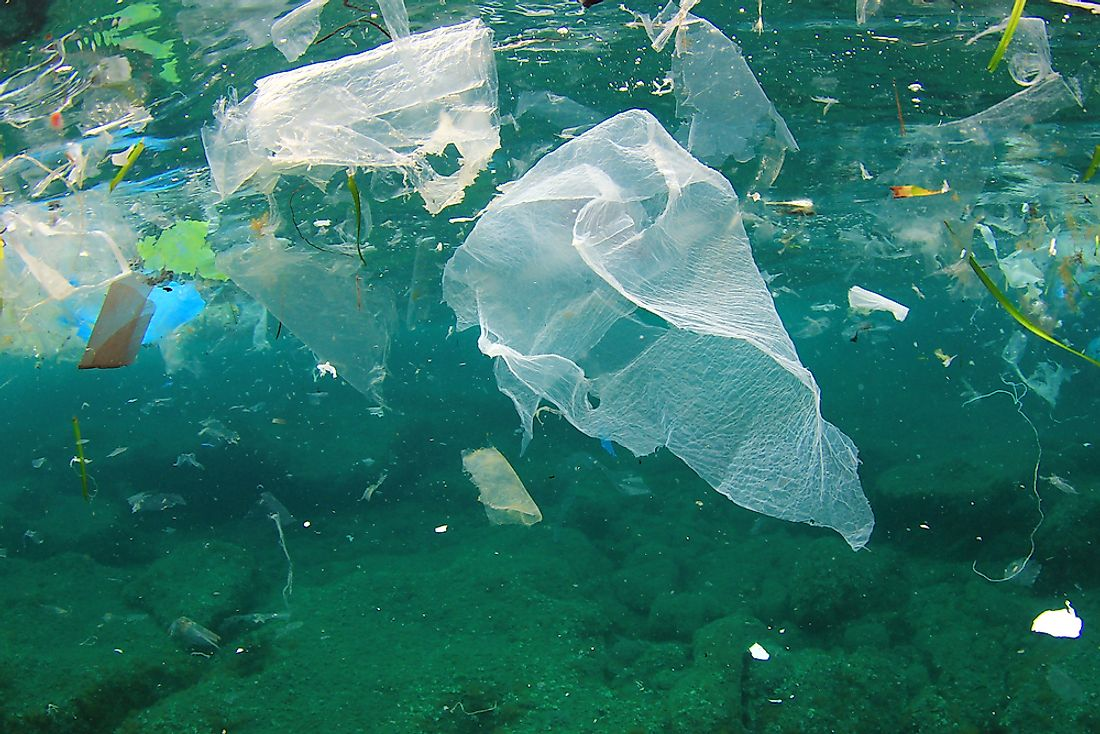 Plastic seen floating in the ocean.
