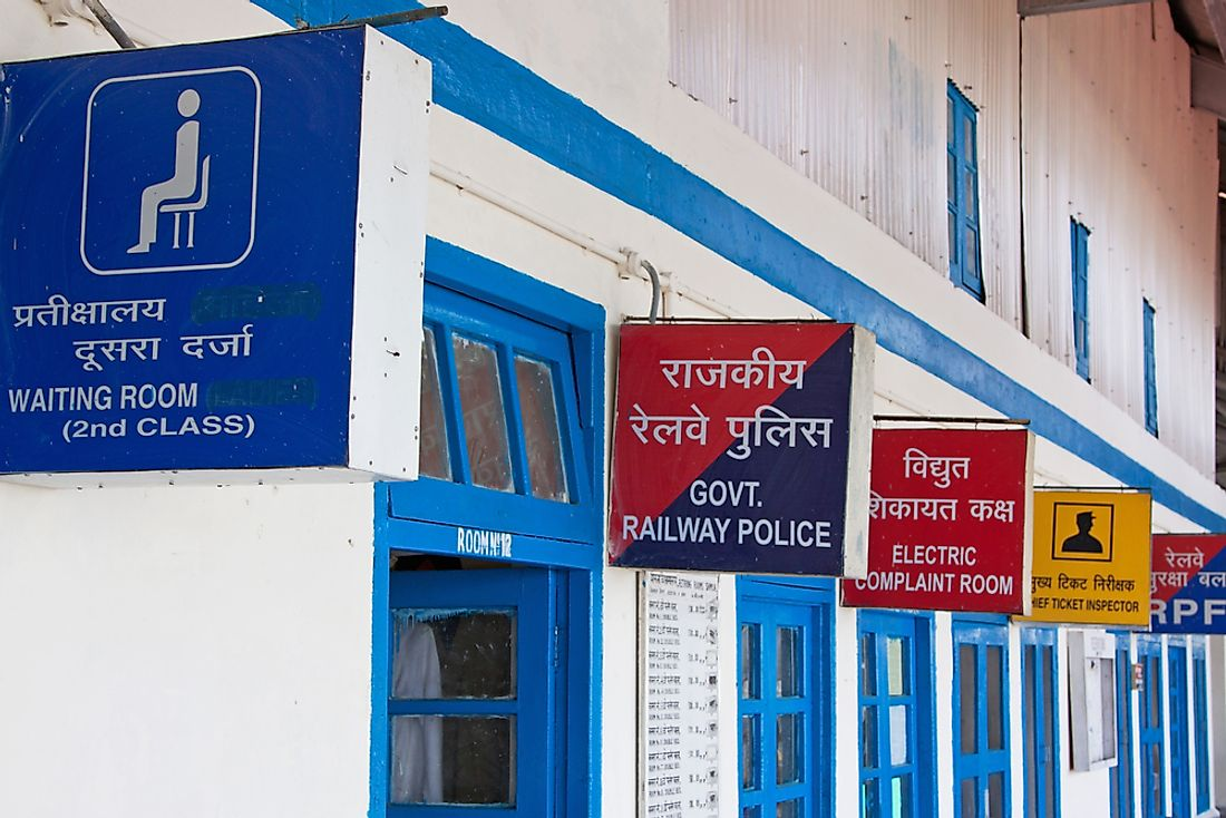 Signs in India, seen in both English and Hindi.