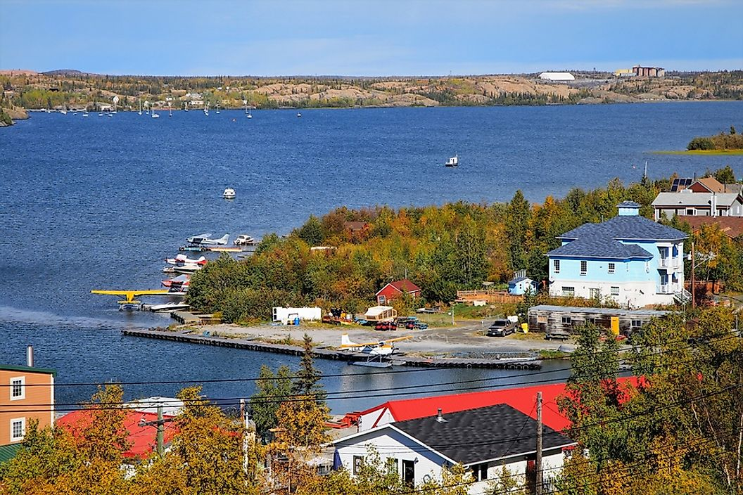 A view of the bay in Yellowknife, Northwest Territories.
