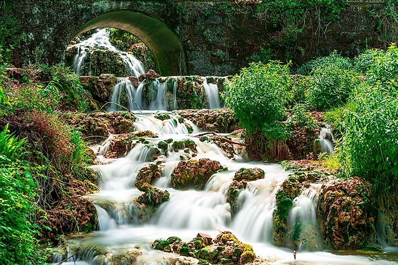 Cascades of Orbaneja del Castillo along the Ebro River in northern Spain.