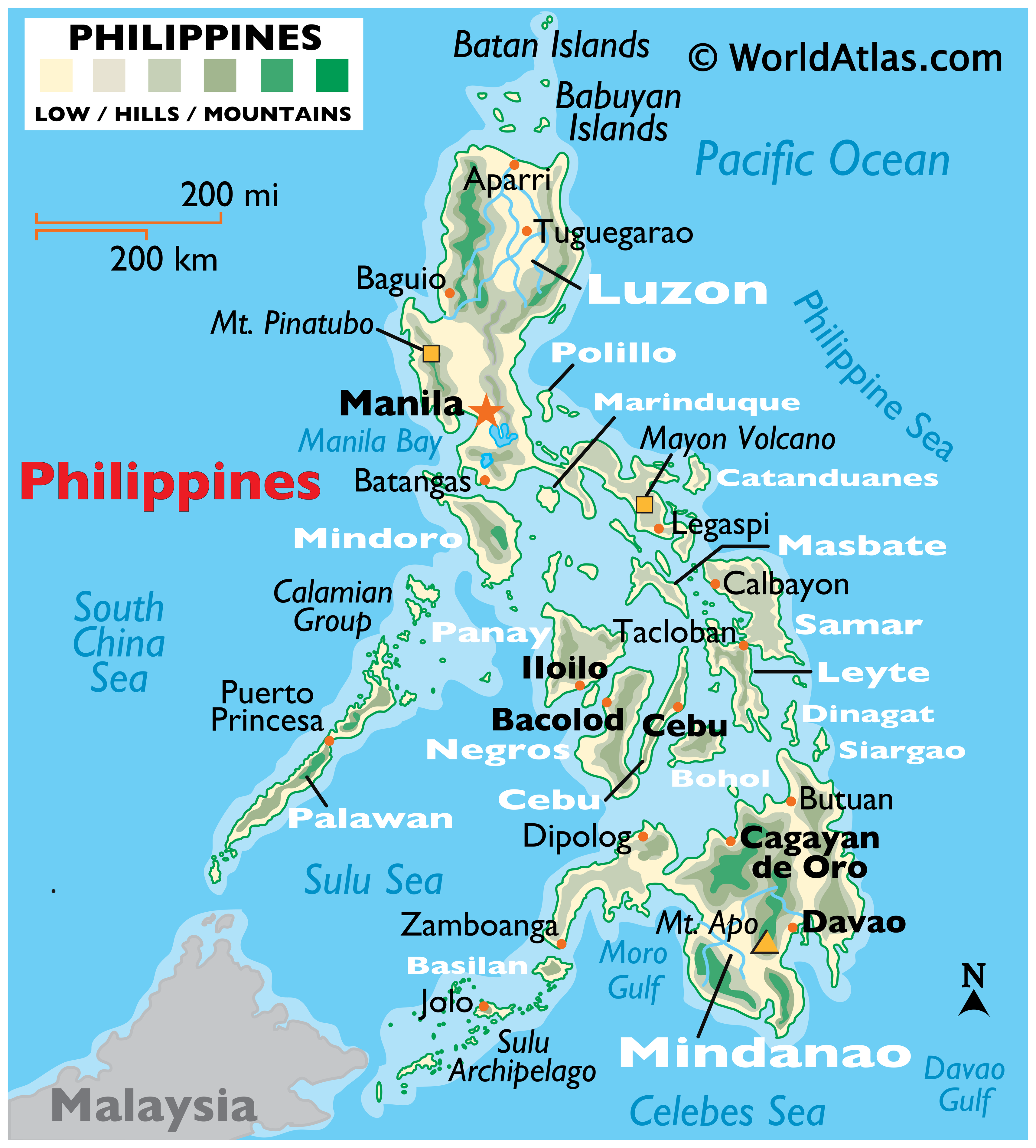 Physical map of the Philippines with provincial boundaries. It shows the physical features of Philippines including elevation, vegetation, and major rivers.