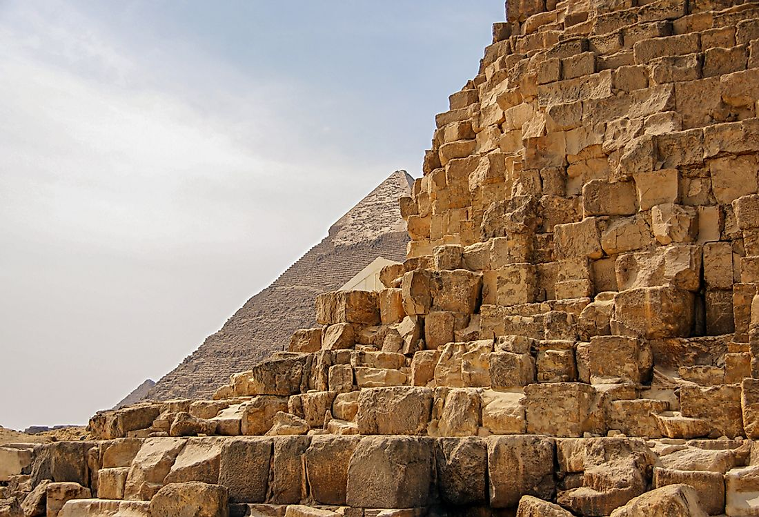 A close-up of the ancient pyramids of Egypt.