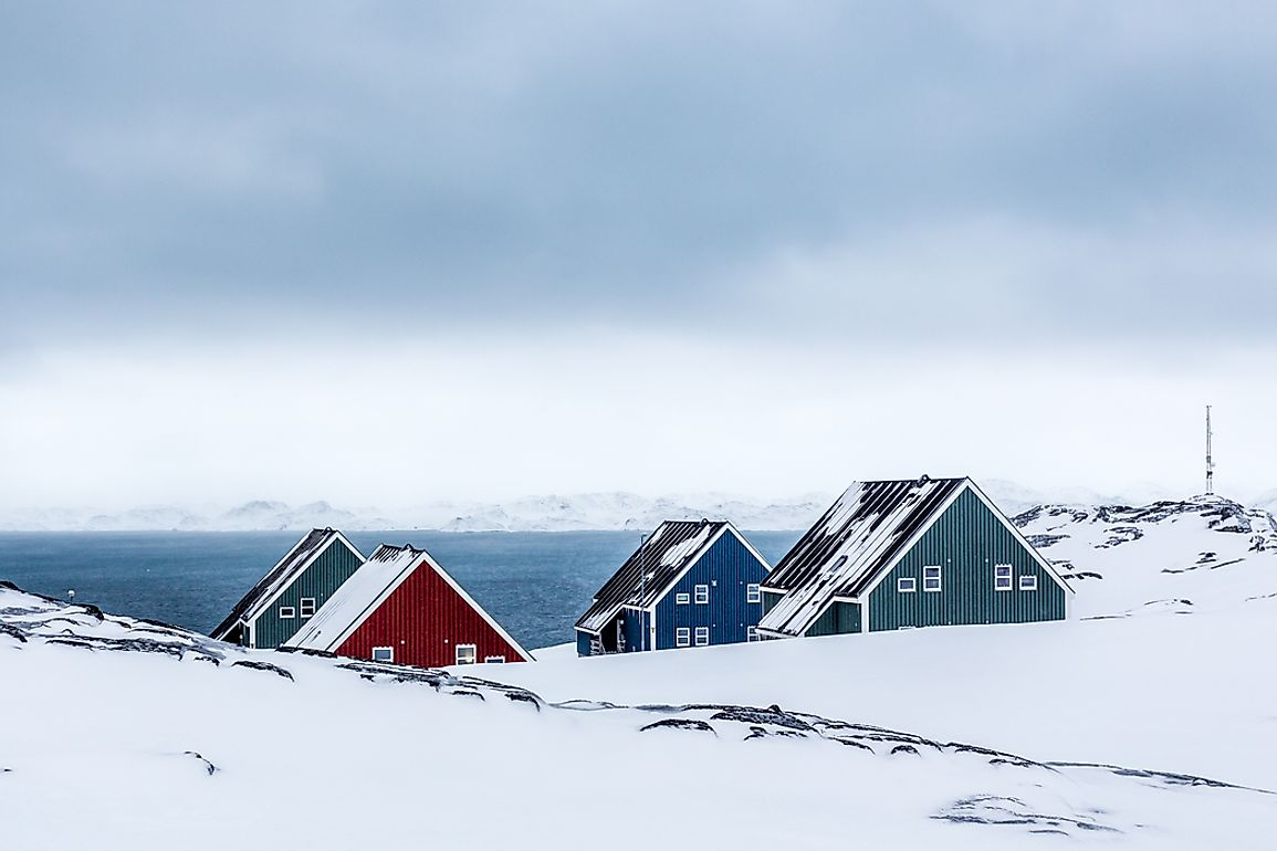 The island of Greenland is the world's least densely populated place.