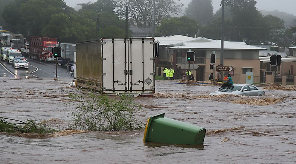 Trapped woman on a car roof during flash flooding in Toowoomba, Australia.