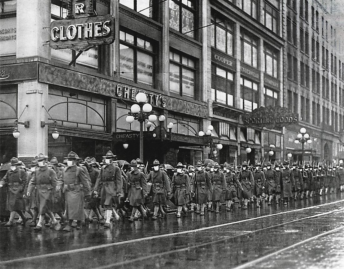 U.S. 39th regiment in Seattle, wear masks to prevent influenza. Dec. 1918.