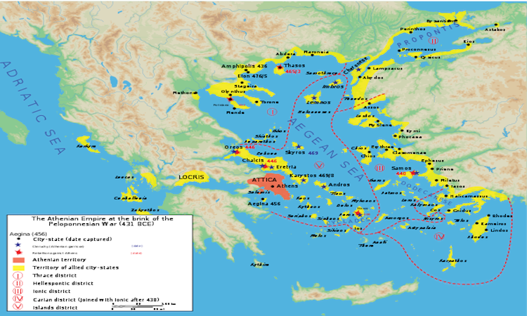 Delian League, before the Peloponnesian War in 431 BC was an example of a thalassocracy.