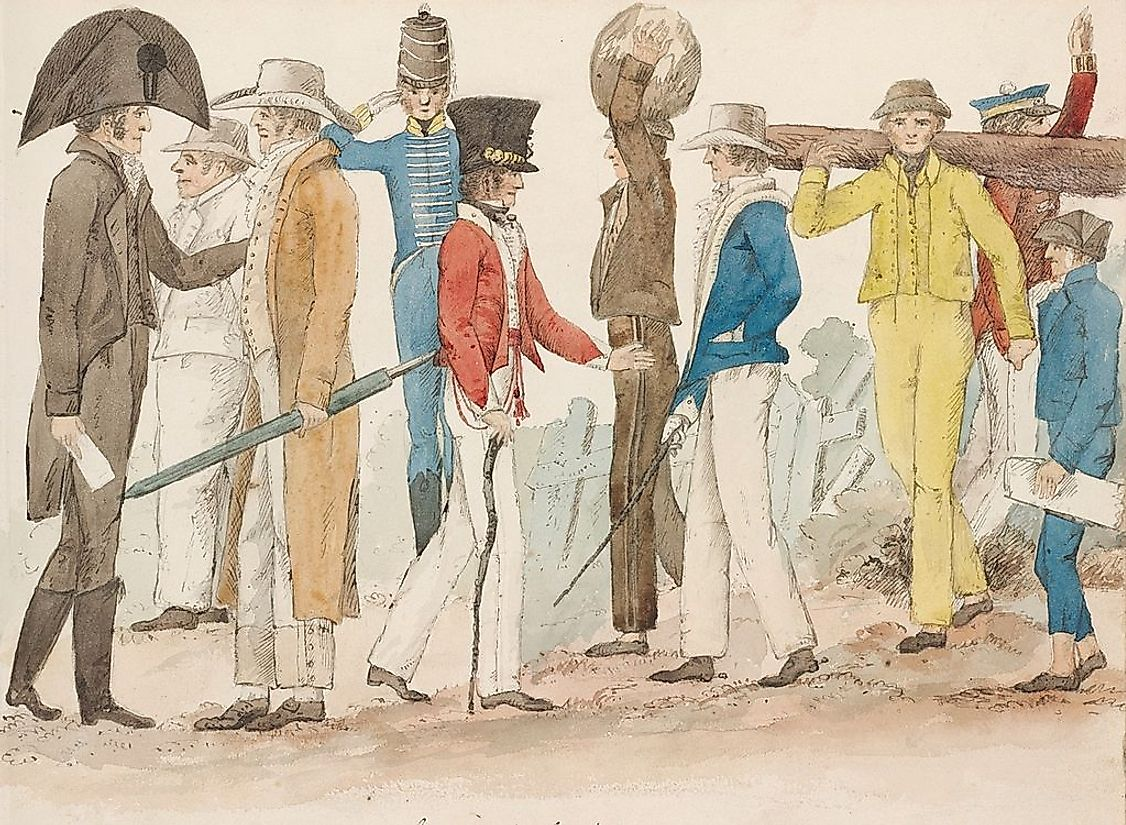 The co-existence of convicts, their military gaolers, and free settlers in Australia during the early years of European settlement in the country.