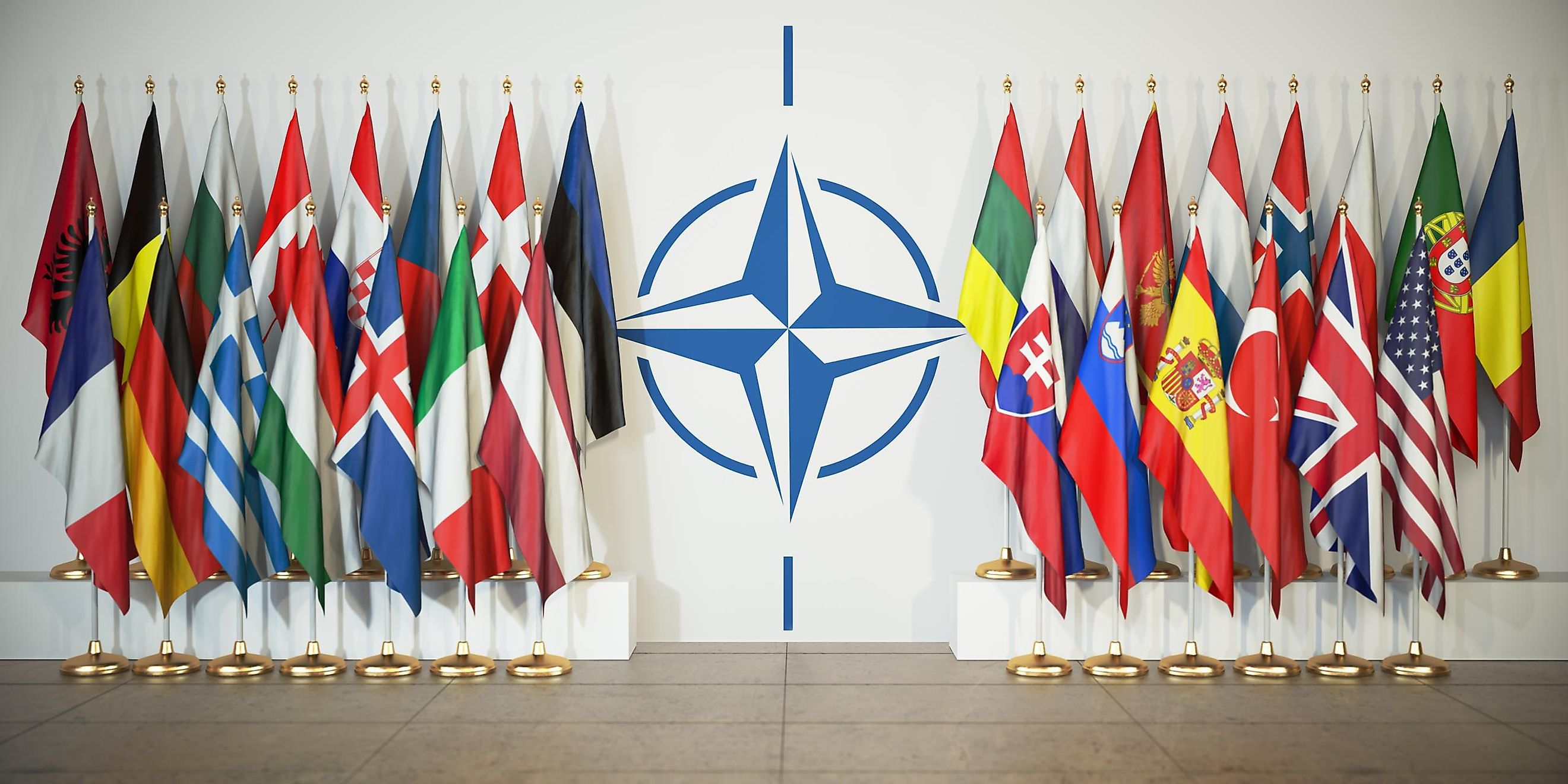 The NATO insignia with its member countries' flags. Image credit: Maxx-Studio/Shutterstock
