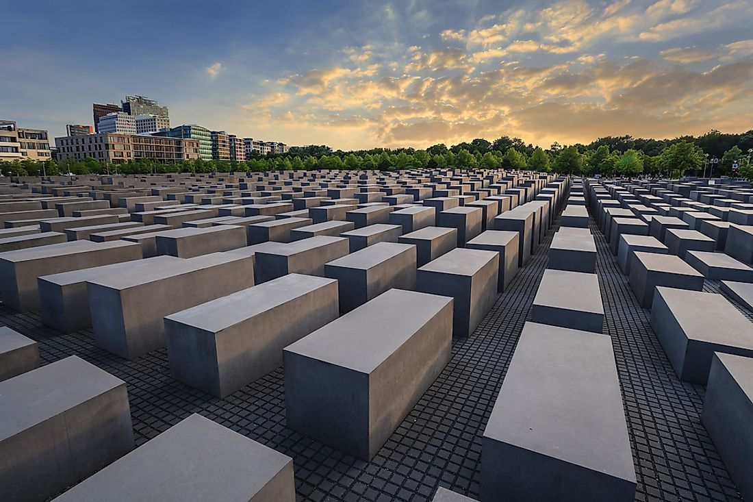 The Jewish Holocaust Memorial in Berlin, Germany. The Jewish Holocaust was the worst genocide of all time by total death toll.  Editorial credit: Noppasin Wongchum / Shutterstock.com.