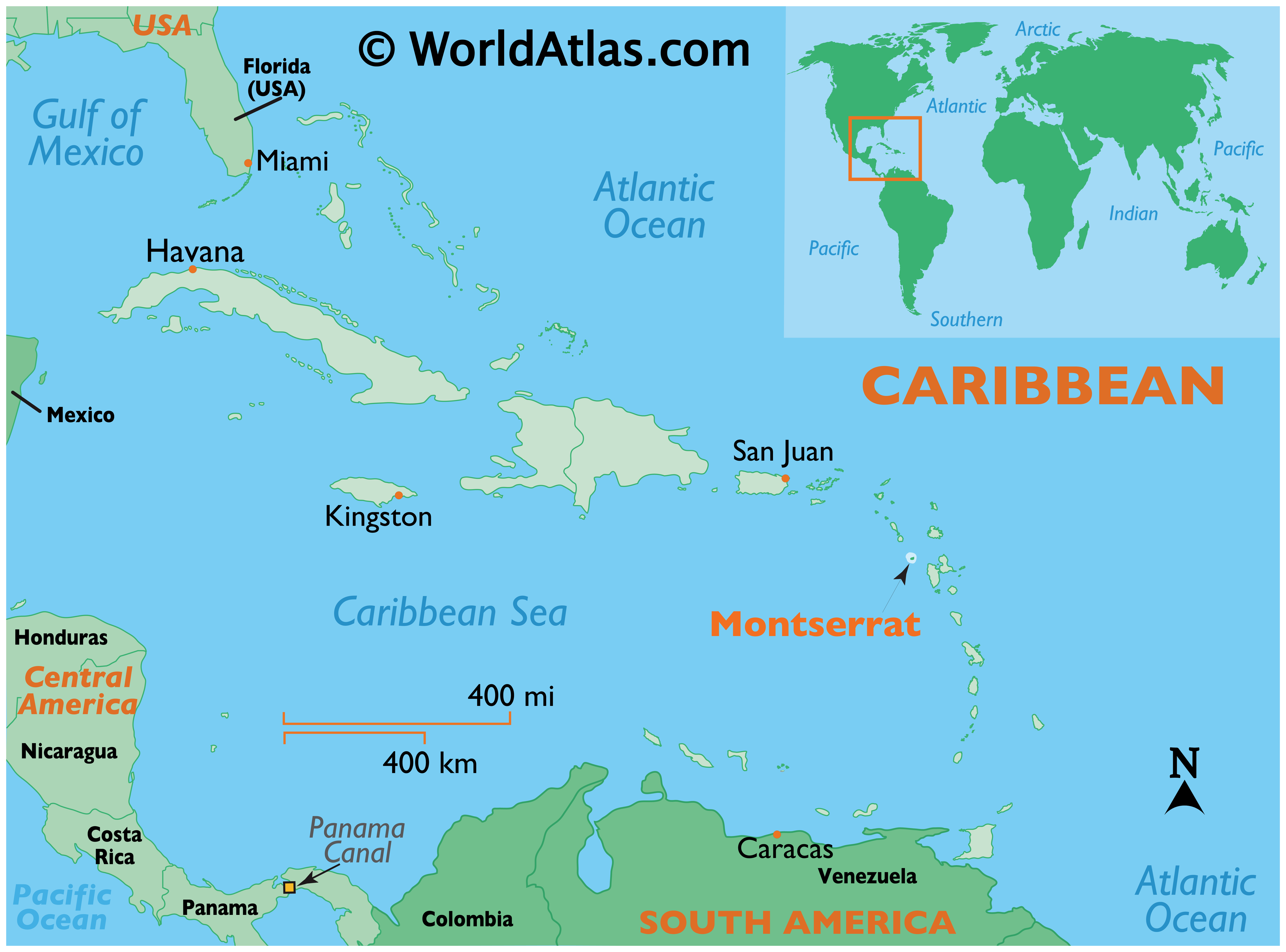 Map showing location of Montserrat in the world.