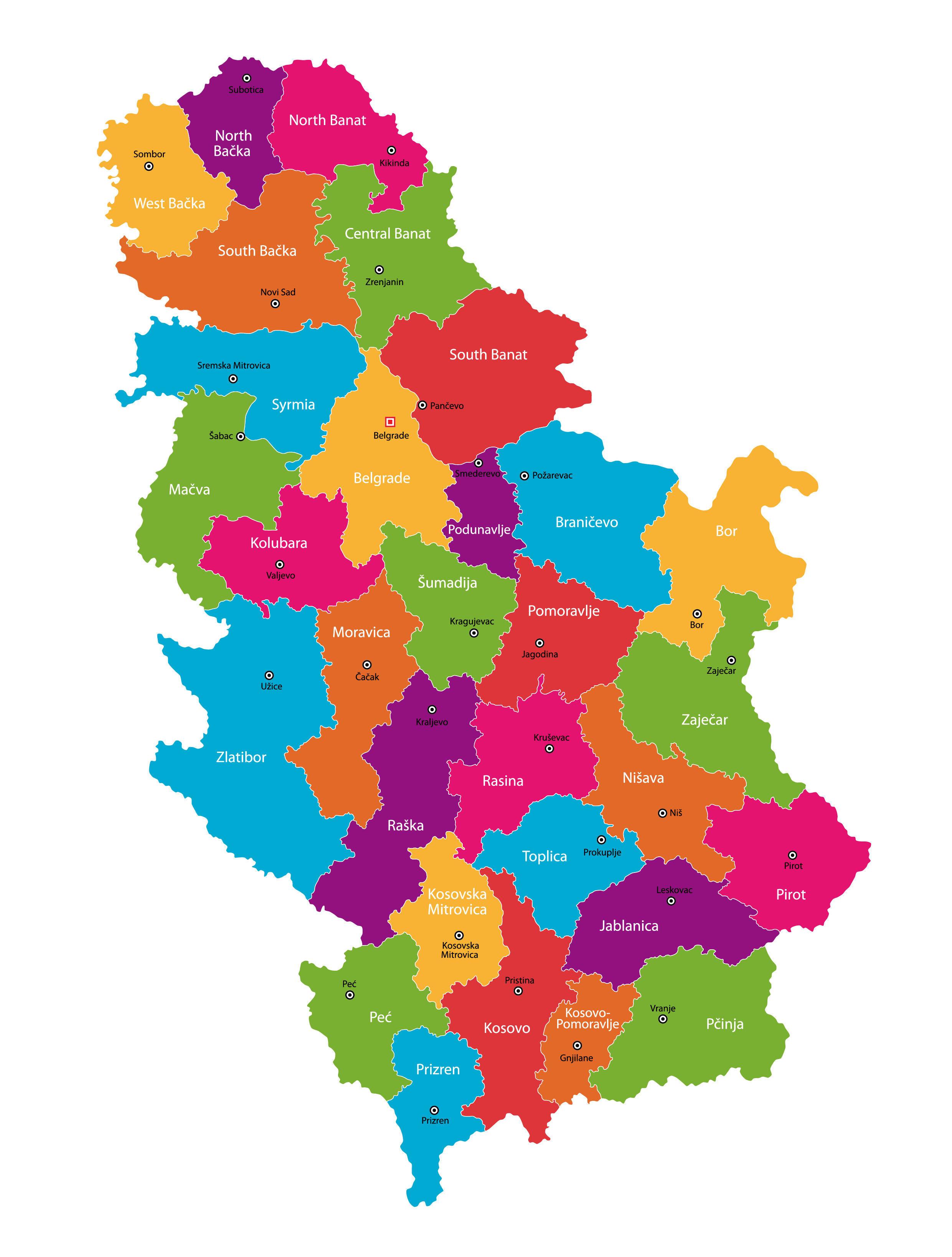 Political Map of Serbia showing its 29 districts,145 municipalities and 29 cities and the capital city of Belgrade