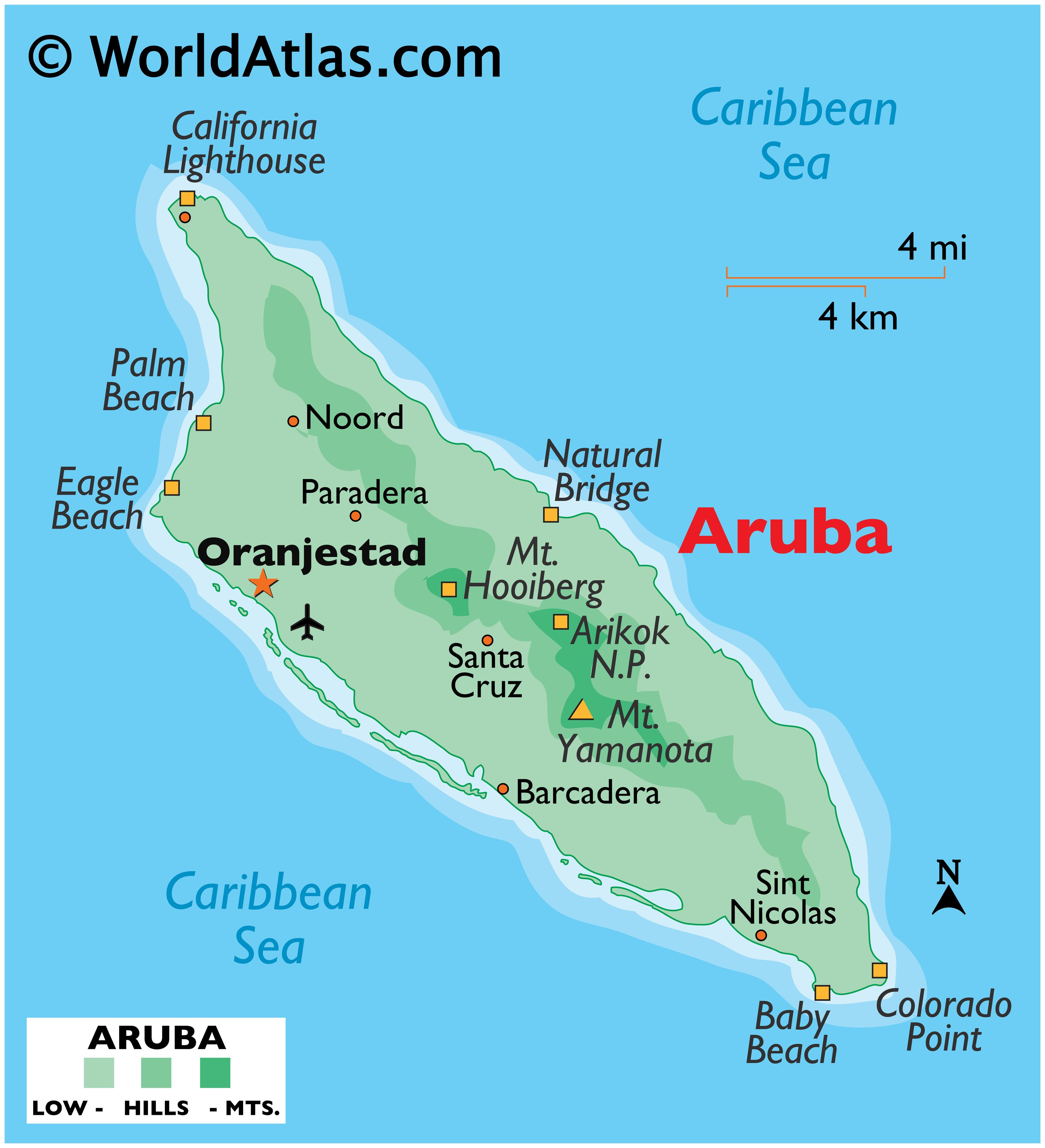 Physical Map of Aruba showing terrain, national parks, beaches, highest point, etc.