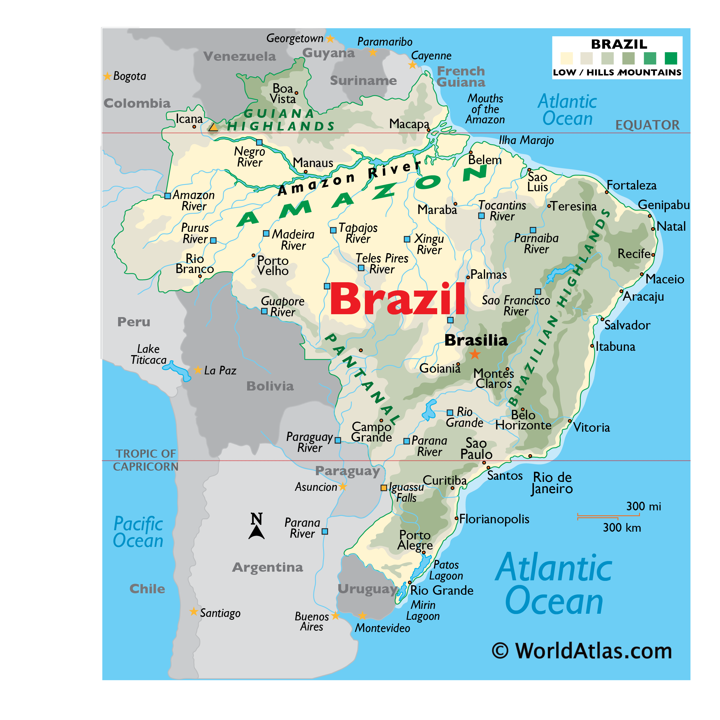Physical Map of Brazil showing relief, rivers, mountains ranges, major lakes, important cities, bordering countries, and more.
