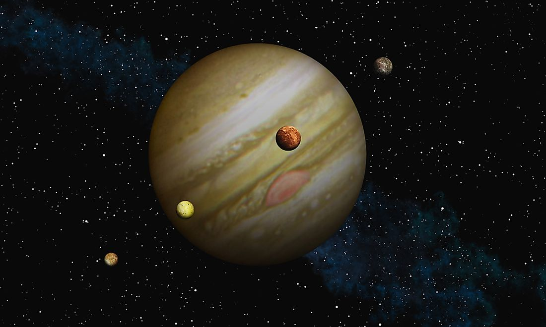 A 3D rendering of Jupiter and some of its moons.