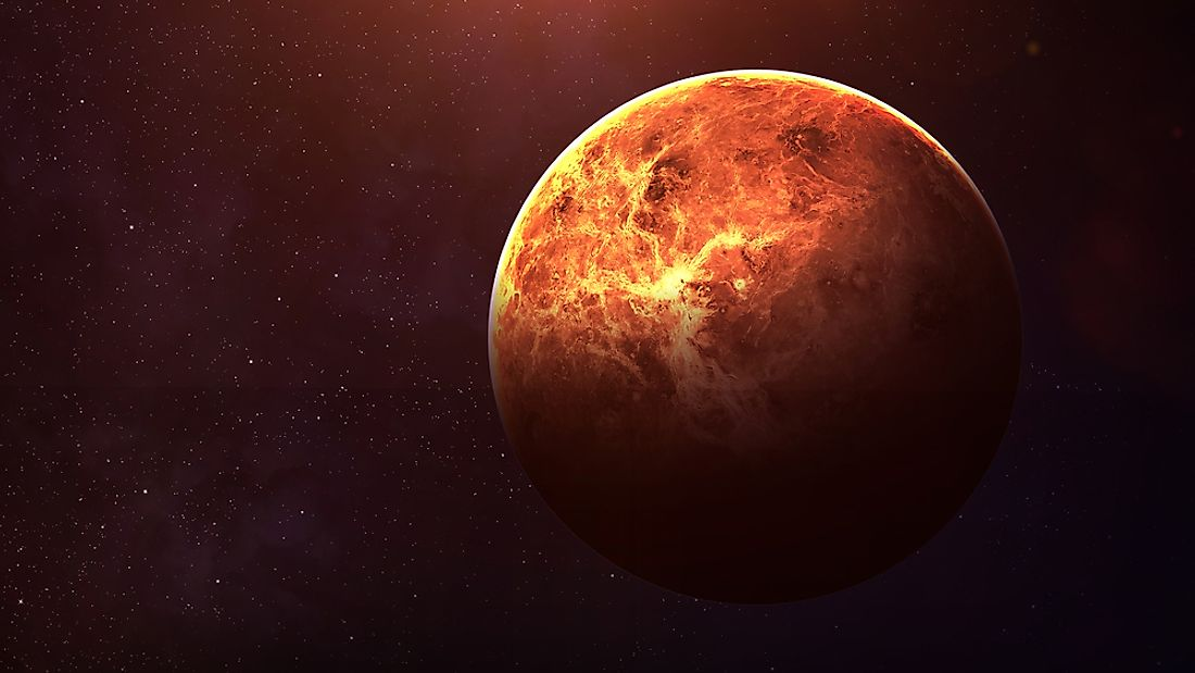A 3D rendering of the planet Venus.