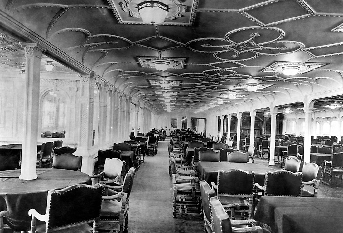 The dining room of the RMS Titanic, which sank in 1912.