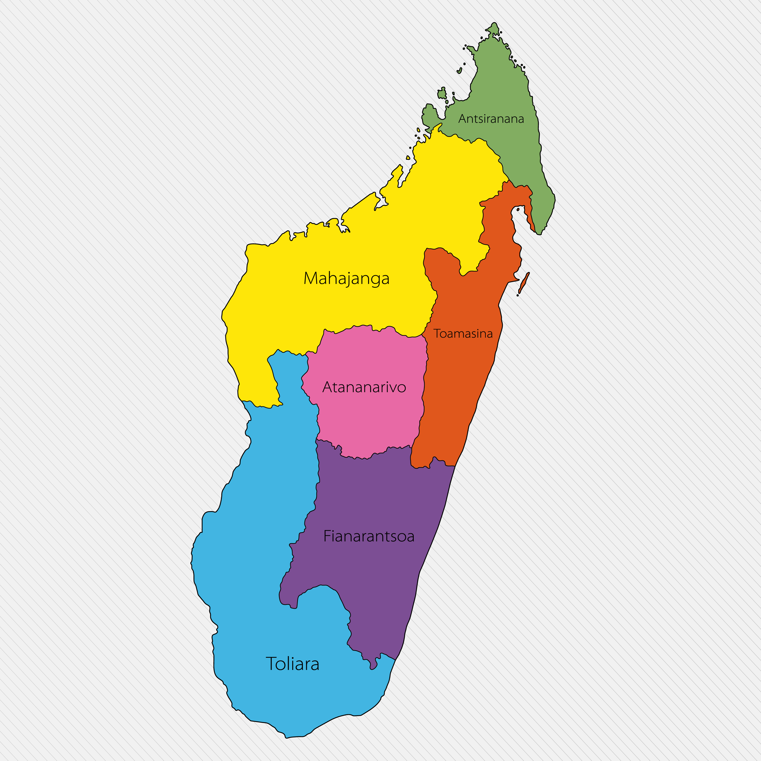 Political Map of Madagascar displaying the 6 provinces and national capital of Antananarivo.