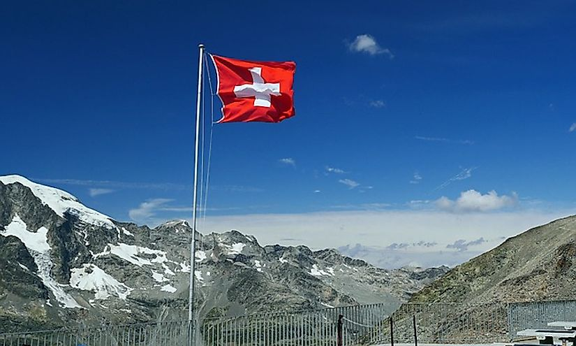 The official flag of Switzerland makes the list for its memorable design.