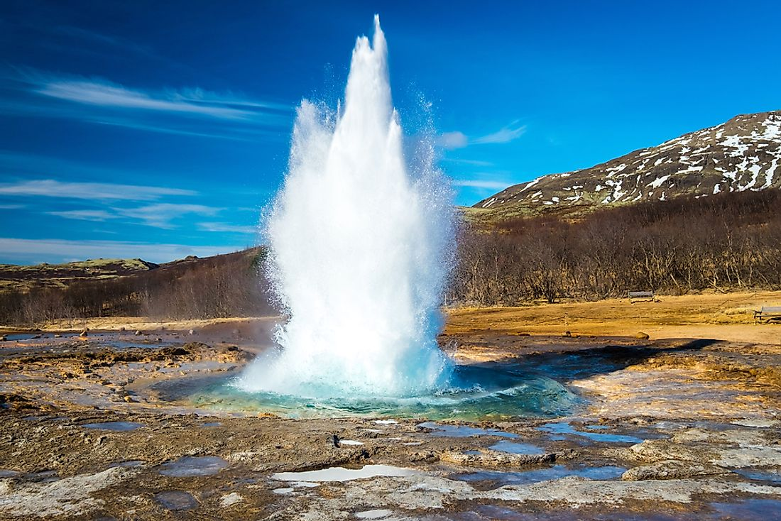The Strokkur geyser erupts at impressive heights of 15-20 meters every 6 to 10 minutes.