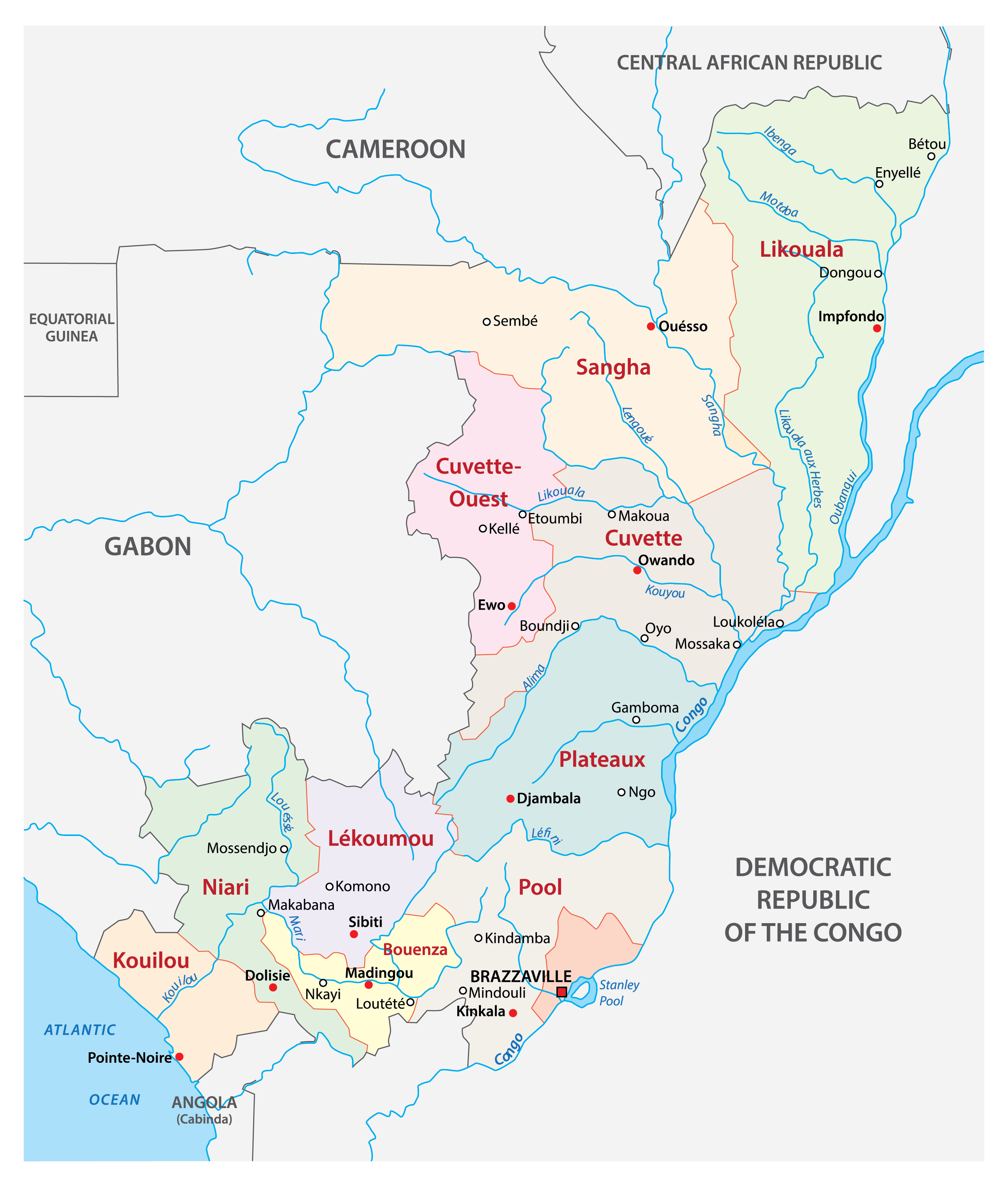 Political Map of Congo showing 12 departments, their capitals, and the national capital of Brazzaville.