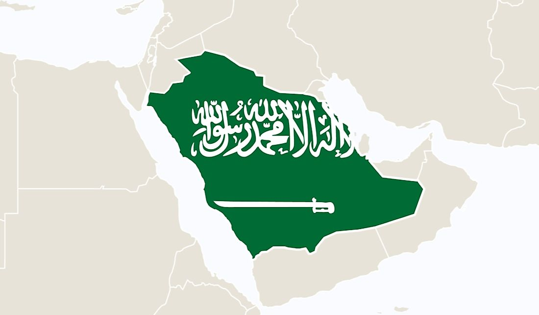 Saudi Arabia takes up a significant portion of the Arabian Peninsula.