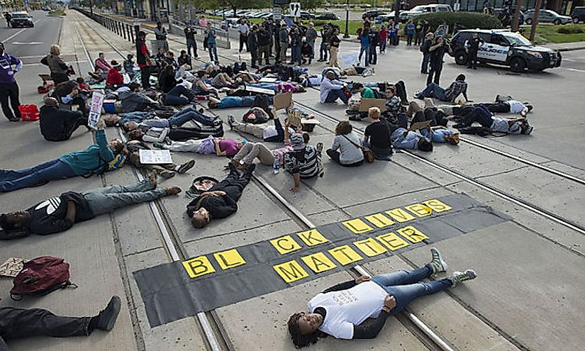 Black Lives Matter die-in protesting alleged police brutality in Saint Paul, Minnesota, September 20, 2015.